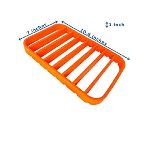 This is the Roasting Rack for Pan by Stan Boutique which is bright orange but perfect for placing roast meats on in your stove.