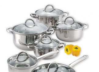 A stylish cookware set. This is the Cook N Home 12-Piece Stainless Steel Cookware Set.