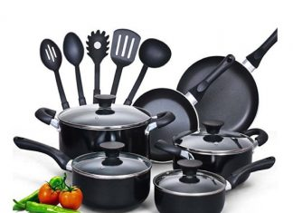 An image of the Cook N Home 15-Piece Nonstick Stay Cool Handle Cookware Set, Black