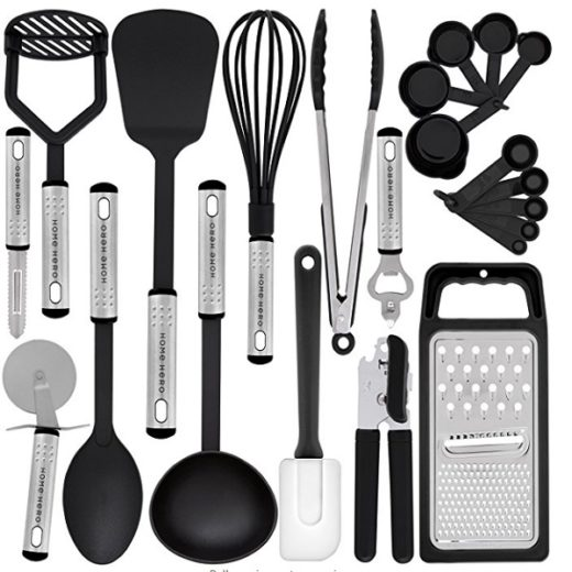 There are 23 utenisl in this Home Hero - Kitchen Utensil Set - 23 Nylon Cooking Utensils set.