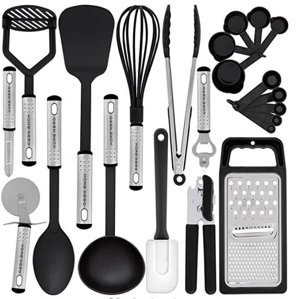 The Home Hero Kitchen Utensil Set - 23 Nylon Cooking Utensils For