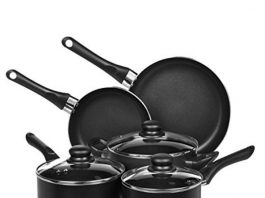 An attractive image showing all of The 8-Piece AmazonBasics Cookware set on display.
