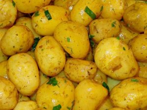Fresh new potatoes, the kind you'd use in a potato salad.