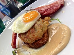 Leftovers don't need to boring. Check out this lovely bubble and squeak with bacon and an egg. Yum.