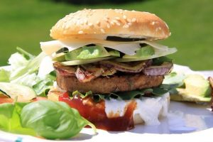 An image of a vegan burger but not the one used in the taste tests below.
