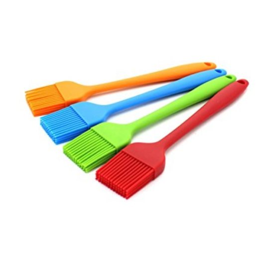 An image of the Zicome Set of 4 Silicone Pastry Basting Grill Barbecue Brushes which can be used for basting at a BBQ or a roast meal.