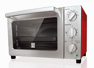 a silver and red toaster oven