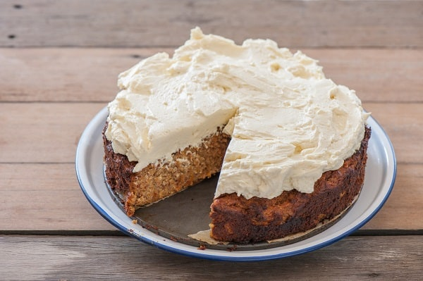 a cream cheese crosted carrot cake