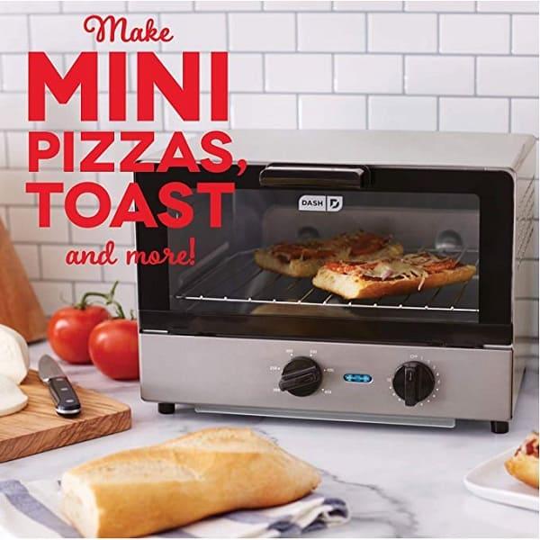 a silver dash mini compact toaster oven