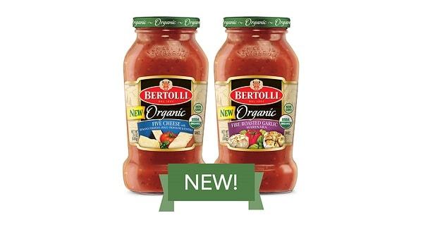 two bottles of bertolli organic pasta sauces
