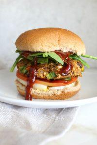 a vegan spicy black bean burger