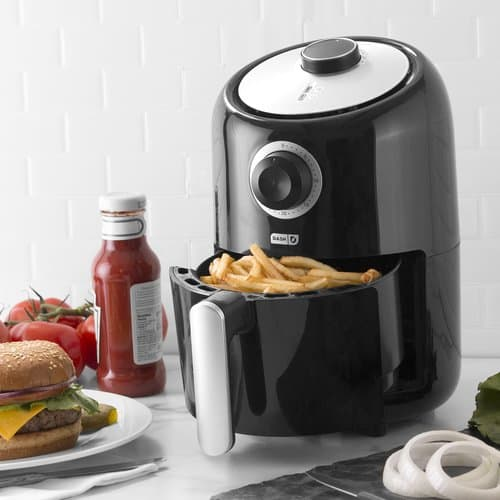 dash compact air fryer on counter