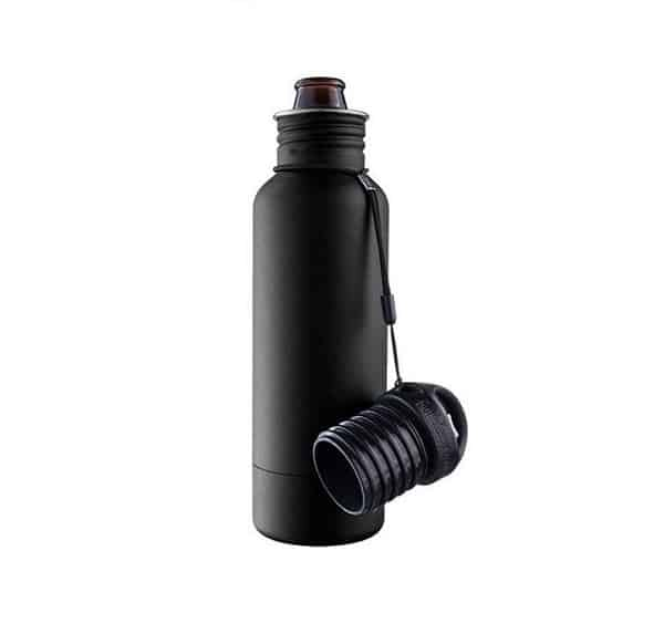 a black metal water bottle