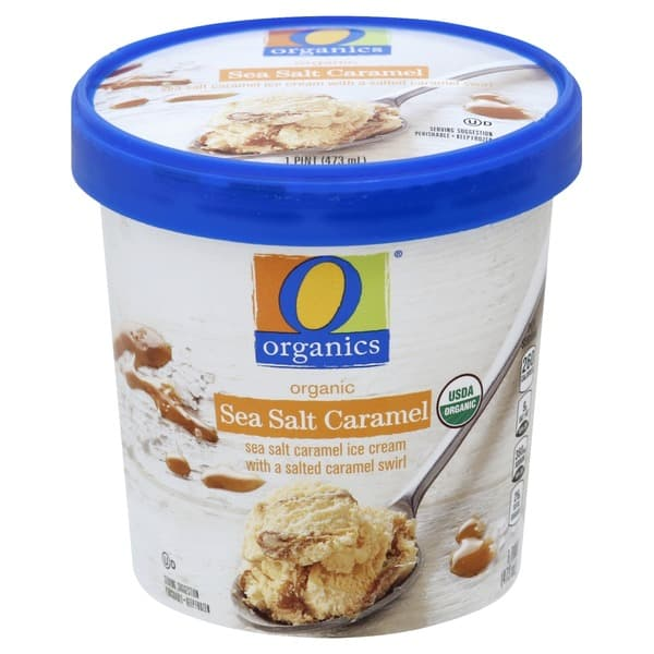 a tub of organic sea salt caramel ice cream