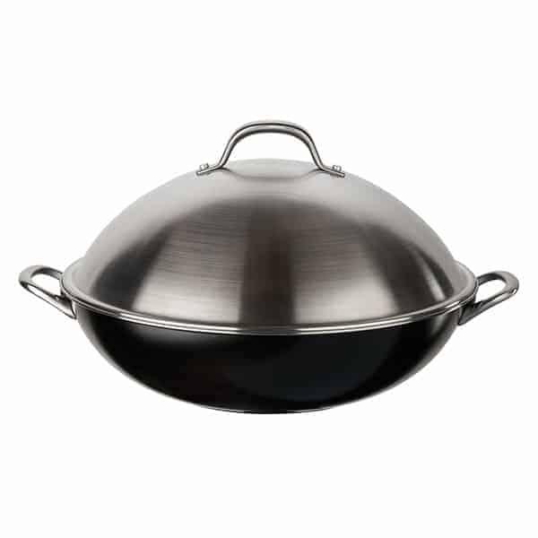a black circulon wok pan