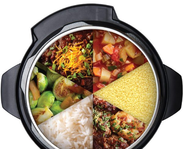 different foods inside of the instant pot duo