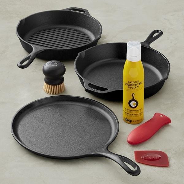 Lodge Seasoned Cast Iron Gourmet Essentials Cookware Set