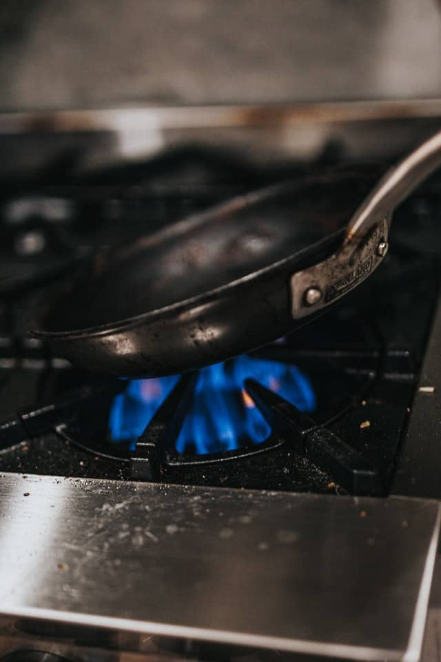 cast iron pan on a stove