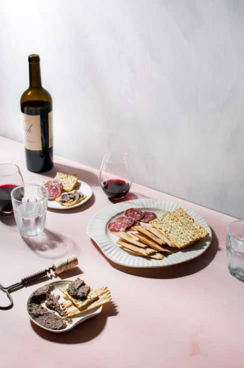 wine with meat and crackers